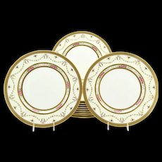 12 Cauldon For Tiffany and Co. Dinner plates W Ivory Borders, Hand Painted Roses, Raised Gold