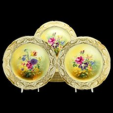 Set of 11 Royal Doulton Dessert Plates With Hand Painted Botanical Subjects Artist Signed E. Wood