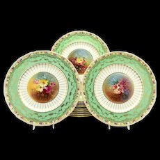 Set of 12 Royal Doulton Mint Green & Gold Hand Painted Artist Signed E. Percy Dinner Plates