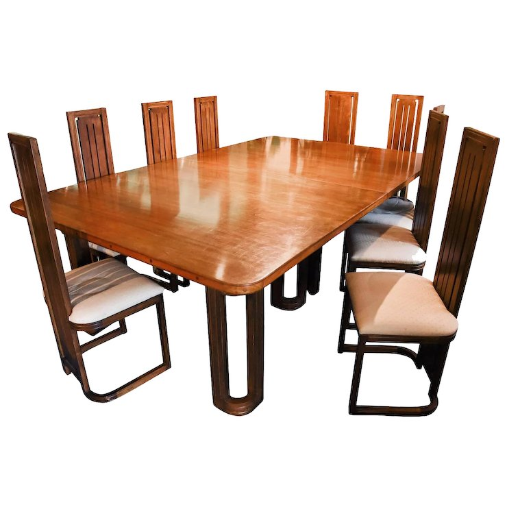 Frank Lloyd Wright Style Dining Table With Twelve Matching Chairs Circa 1950