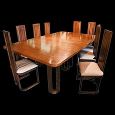 Frank Lloyd Wright-Style Dining Table with Twelve Matching Chairs, circa 1950