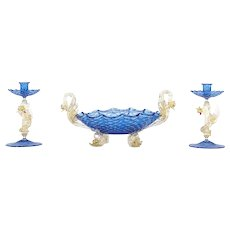 Figural Three-Piece Murano Venetian Salviati Centerpiece w/ Dolphins & Dragons