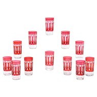 Set of 12 Val Saint Lambert Art Deco Style Cranberry Overlay Crystal Tumblers