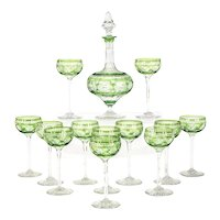 Webb Handblown Apple Green Overlay Crystal Decanter Set W/ 12 Cordials
