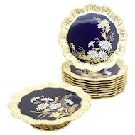 Aynsley Aesthetic Movement Cobalt Blue & Gold Daisy Dessert Set 11 Pieces