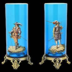 Pair of Signed Turquoise 19th C. Baccarat Vases with Hand Painted Enamel French Soldiers