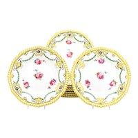 Set of 11 Wedgwood Lemon Yellow Dinner Plates w/ Hand Painted Roses