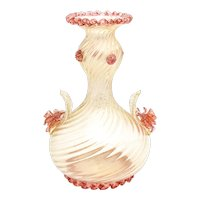 Barovier e Toso Venetian Murano Gold Vase with Optic Swirl & Applied Roses