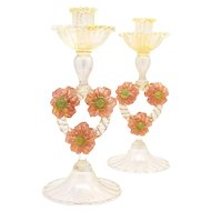 Pair of Venetian Murano Pink & Gold Candlesticks With 6 Applied Flowers on Twisted Stem
