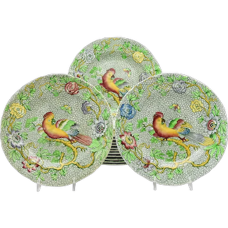 Set of 14 Copeland Late Spode Aesthetic Movement Green Parrot Dessert Plates