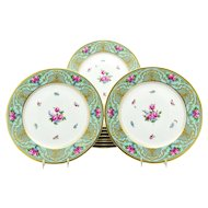 Set of 11 Dresden Turquoise Blue Raised Gold & Hand Painted Rose Dinner Plates