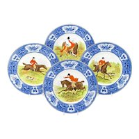 Wedgwood Enameled Hunt Plates-Set of 18