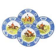 Wedgwood Enameled Hunt Plates-Set of 18