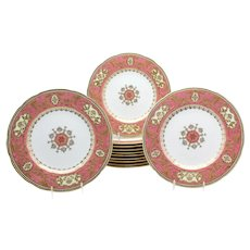 Set of 12 Spode for Tiffany Raised Gold and Pink Rose Du Barry Dessert Plates