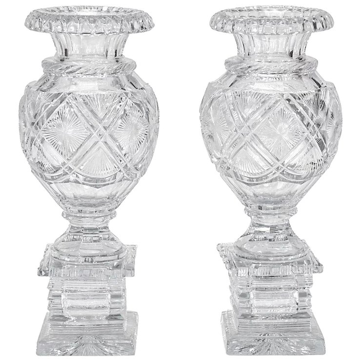 Pair Of 19th C Baccarat Cut Crystal Mantle Vases On Square Bases