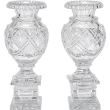 Pair of 19th C. Baccarat Cut Crystal Mantle Vases On Square Bases