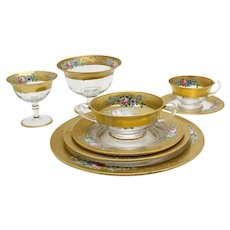 Complete Hand Painted Glass Dinner Service for 12