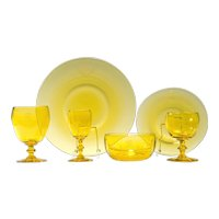 "Steuben ""Bristol Yellow"" Dinner & Stemware Service For 12"