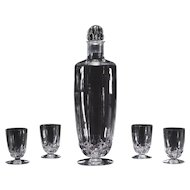 R. Lalique Hand Blown Crystal Decanter and 8 Matching Cordials
