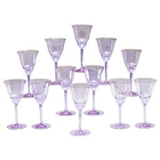 "Set of 12 ""Alexandrite"" Art Deco Goblets by Moser"