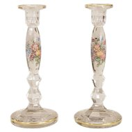 Moser Hand Blown Crystal Candlesticks w/ Enamel Decoration