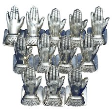 """Set of 12 Silver Plate Figural """"Hand"""" Place Card Holders"""
