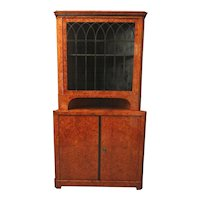 Burl Wood Biedermeier Corner Cabinet