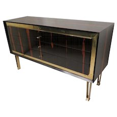 Commode in Ebony-Macassar and Brass, France 1940s