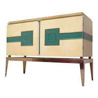 Sideboard Vitrified Parchment Brass Legs, Italy 1950s.