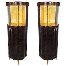 Pair of Unusual Art Deco Display Cabinets