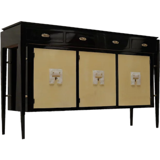 1940s Parchment and Lacquered Black Wood Art Deco Italian Sideboard