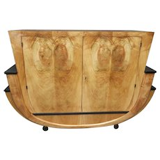 Italian Art Deco Flamed Walnut Sideboard