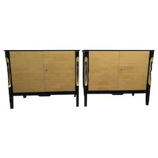 Pair of Black Lacquered and Parchment Sideboards
