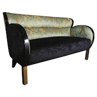 Art Deco Black Lacquered Sofa