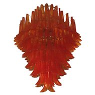 Dramatic Mazzega Chandelier in Orange Glass