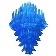 Blue Glass Mazzega Chandelier, Italy, c. 1970