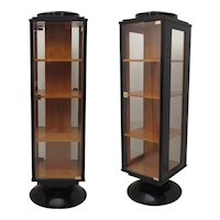 Pair of 1930 Black Art Deco Showcases
