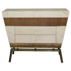 Marble and Brass Italy Chest of Drawers