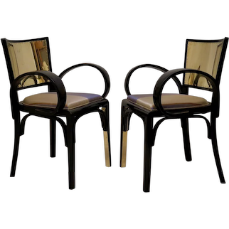 Pair of 1920 Black Lacquer and Brass Art Deco Italian Armchairs