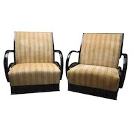 Pair of Walnut Arm Chairs