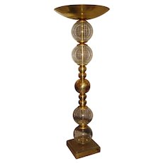 Floor Lamp in Brass and Glass