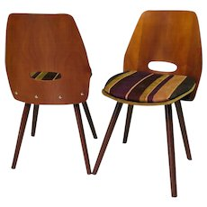 4 Designer Chairs by Vittorio Nobili, wood and iron, Italy 1955