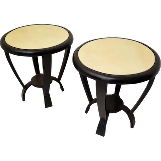 Pair of 1940s Round Parchment Black and Withe Italian Art Deco Side Table