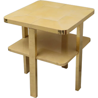 1920 Parchment and Brass Square Art Deco Side Table