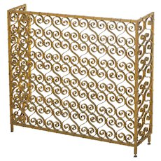 Custom Gilt Covered Iron Fireplace Screen