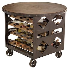 Hand Forged Oak Wine Table On Casters