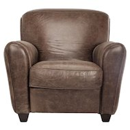 Olive Green Leather Club Chair