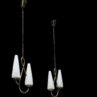 Pair of 'Pretzel' Pendant Lights 1950