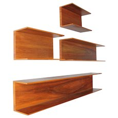 Set of seven Wall Shelves by Wilhelm Renz in Walnut