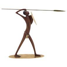 Werkstatte Hagenauer, African Warrior, Vienna, ca 1950, precious wood and brass
